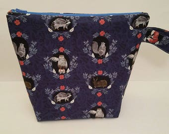 Nature Project Bag, Raccoon Project Bag, Large Project Bag, Knitting Bag, Crochet Bag, Knitting Pouch, Knitting Project Bag