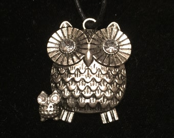 Owl Pendant on Leather Rope