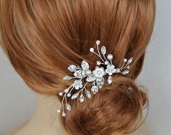 Braut Haar Rebe Clip Swarovski Perlen Swarovski Kristall Blätter Blumen Silber Ton Hochzeit Kopfschmuck - versandfertig in 3-5 Werktagen