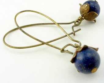 Lapis Lazuli Earrings  Cottage Style Shabby Chic Mothers Day Outdoor Wedding Garden, Gift for Her Jewelry