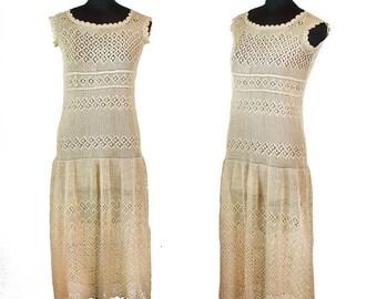 ON SALE 1920s Dress ~ Crochet Filet Lace Drop Waist Ecru Flapper Dress