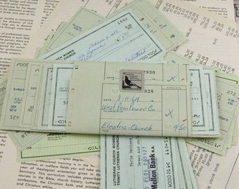 Grab Bag of 25 Vintage Church Checks from the Mid-20th Century BARGAIN - was 6.25
