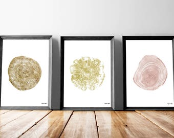 Tree Ring /  Tree Slice / Tree Cut Linocut Type Poster Print - Wall Art - Digital File Download