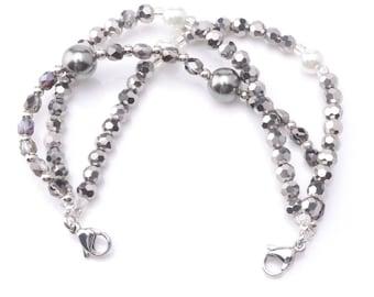 Medical ID Triple Strand Beaded Interchangeable Bracelet