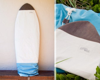 Blue Surf Bag Canvas Surfboard Bag with Leather Nose