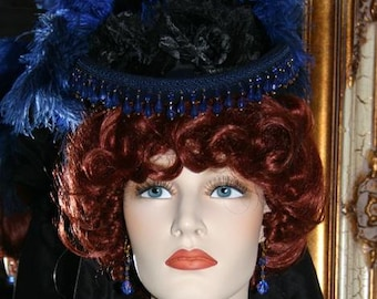 Royal Blue Kentucky Derby Hat, Victorian Hat, Riding Hat, Sidesaddle Hat, SASS Hat, Tea Party Hat - Spirit of Denver