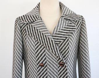 Vintage 70's Zig Zag Herringbone Coat (Small)