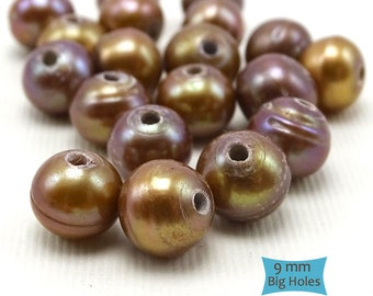 Big Hole Freshwater Pearls Caramel Cognac--10 Pcs. | 25-P910-CP-10