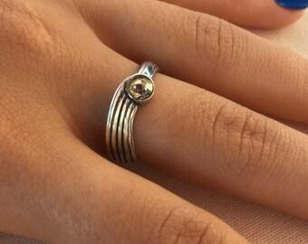 Yellow zircon silver ring, Zircon silver ring, Ring size US 6, Statement ring, Bohemian ring, Zircon healing ring, Yellow zircon, zircon,