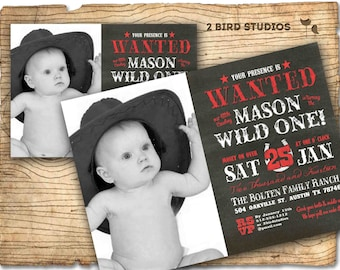 Cowboy invitation - First birthday invitation - Western 1st Birthday invitation - Chalkboard cowboy printable invitation / invite