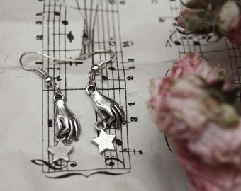 Seize the night earrings, stars earrings, celestial jewelry, carpe noctem, witchy jewelry, occult jewelry, strega fashion