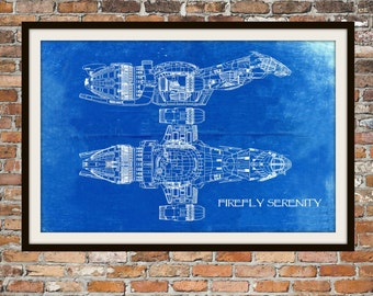 Firefly Serenity Blueprint Art of Firefly Class Technical Drawings Engineering Drawings Patent Blue Print Art Item 0099