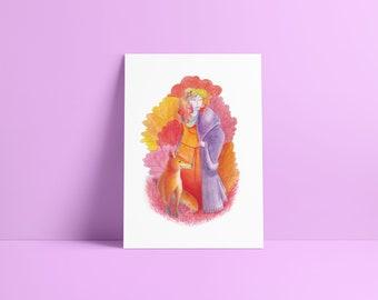 Woman & the fox - Fine Art Print ~ Lucile Farroni