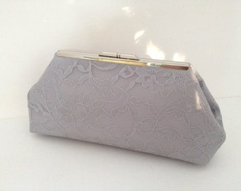 Grey Lace Clutch Purse with Silver Tone  Finish Snap Close Frame
