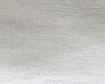 "ARCTIC WHITE - Pure Silk / Flax Linen Blend Fabric -  54"" Wide"