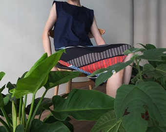 Dover Skirt -mixed geometric pencil skirt