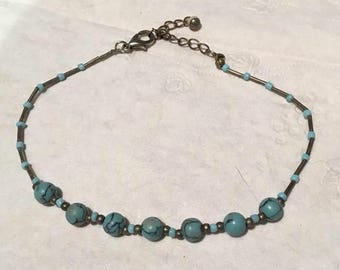 Turquoise and sterling silver ankle bracelet