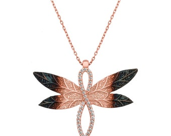 Silver Dragonfly Necklace - IJ1-2051