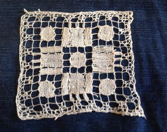 inlay made hand filet lace square