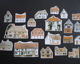 Small Modern Houses / Bulildings Inspiration Pack, Paper Ephemera, Scrap Pack, for Scrapbooking, Junk Journals, Smash books, Paper Crafts