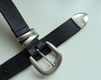 FREE SHIPPING - Vintage Cool Black Leather belt with metal buckle, size 95/ 38