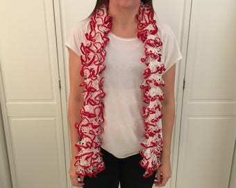 Red and White Ruffle Scarf