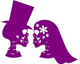 Day of The Dead, Wedding Couple, Sugar Skull, Calavera, Car decal, Vinyl sticker, Dia de los Muertos, Aztec, Mexican, Skeleton, Catrina,