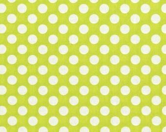 Michael Miller Fabric Lime Green Ta Dot Fabric, White Polka Dots 1 yard