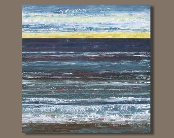 FREE SHIP Blue Abstract Seascape Painting Large Wall Art Painting on Canvas Wall Decor Office Decor Atlantic Ocean Painting by Sage Mountain