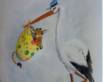 Stork delivery- giraffe, nursery, home decor, baby shower, nature