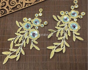 Baroque Gold Embroidery Lace Patch,3D Gold Embroidery Sequin Patch