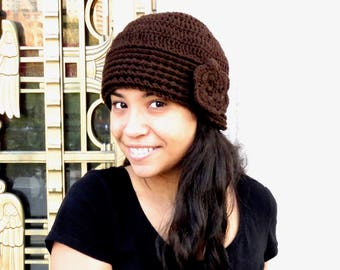 Crochet Hat, Crochet  Beanie, Cloche, Crochet Flower Hat, Color is Chocolate,