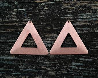 Rose Gold Triangle Pendants, Brass Triangles, Geometric Pendants, 2 pcs