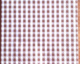 Pack of 20 Brown gingham paper napkins
