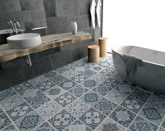 Vintage Blue Grey Tile Decal   Floor Tile Decal   Bathroom Flooring    Kitchen Flooring