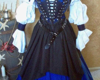 Blue Pirate Renaissance Steampunk Bodice Cuffs Lacing And Skirt Set Shirt Not Included