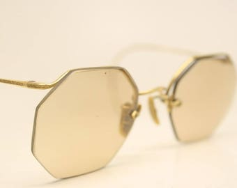 Small Antique Gold Filled Semi Rimless Vintage Eyeglasses