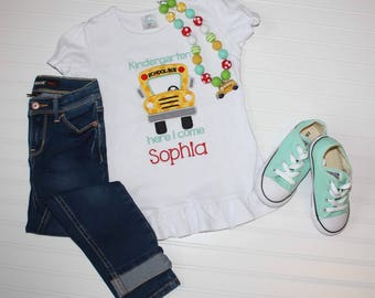 Girls School Bus Shirt *customizable with name and grade*