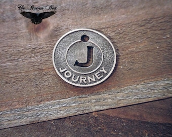 """Word Charm Pendant JOURNEY Antiqued Silver Circle Word Charm J Charm 3/4"""" Charms by the Piece Inspirational Charm"""