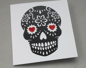 Sugar Skull Card Anniversary Wedding Birthday Tattoo Rockabilly Day of the Dead Dia De Los Muertos