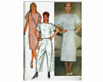 Straight pullover dress Cropped Top Skirt and Pants UNCUT 1980s Sewing Pattern Sizes 12 14 16 Bust 34 36 38 Butterick 4937