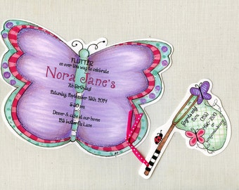 25 Purple Butterfly Happy Birthday Invitations - Spring - Girl - Butterfly Net - Personalized - Printed - Sara Jane - Artfully Invited