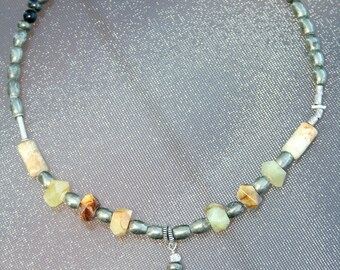 WILDFIRE Jade, Pyrite, Jasper, Bali and Hilltribe Silver Necklace