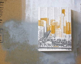 Chicago Wall Art / Chicago Art Print / Chicago Photography / Sears Tower / Book Page Print / Atlas Page Print / Chicago Bridge
