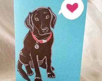 Black Lab Heart Greeting Card