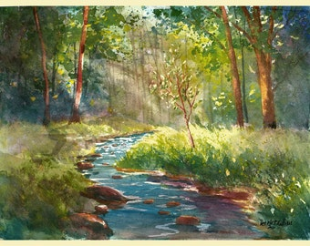 watercolor landscape painting PRINT creek and tree summer trees with creek  water GICLEE reproduction