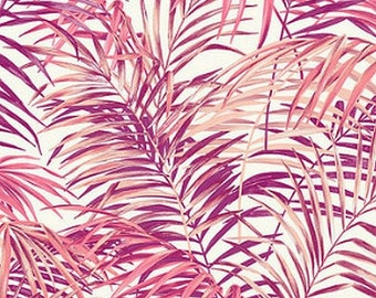 Fabric, exotic, Palm, rose leaves, 280 cm wide