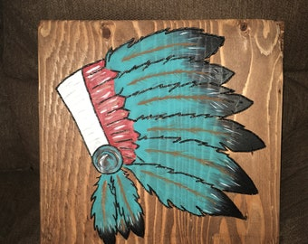 Hand painted Chief decor