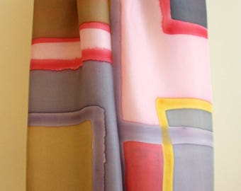 Hand Painted Silk Scarf. Mondrian style silk scarf. Hand Painted Silk Shawl. 71x18 in. Wedding Gift. Ooak scarf.