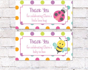 Personalized Favor Tags or Stickers for Bug Themed Baby Shower. Bug Baby Shower Party Decor. Polka Dot / Bug Baby Shower.